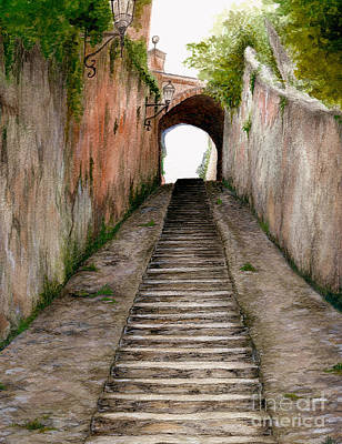 Painting - Italian Walkway Steps To A Tunnel by Nan Wright