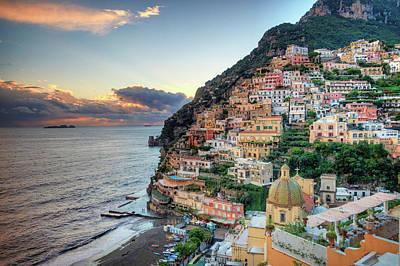 Sunset Wall Art - Photograph - Italy, Amalfi Coast, Positano by Michele Falzone