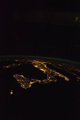 Italy At Night, Iss Image Art Print by Science Photo Library