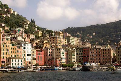 Italy, Camogli Boats Moored In Harbor Art Print