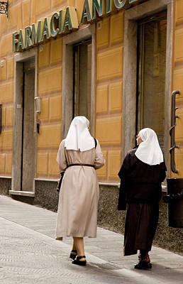 Italy, Camogli Two Nuns Walk Art Print