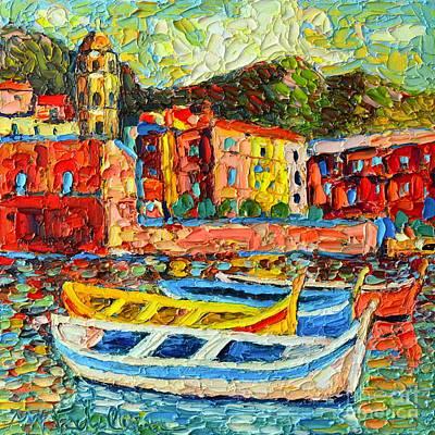 Manarola Painting - Italy - Cinque Terre - Boats In Vernazza - 2 by Ana Maria Edulescu
