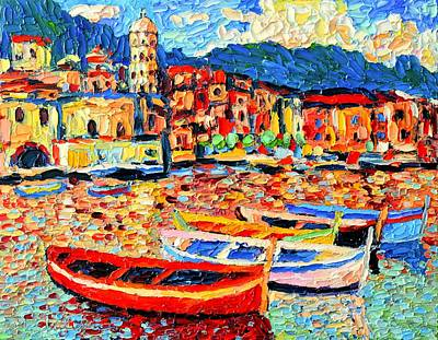 Manarola Painting - Italy - Cinque Terre - Colorful Boats In Vernazza 3 by Ana Maria Edulescu