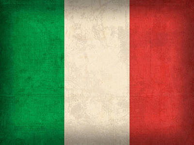 Italy Flag Vintage Distressed Finish Art Print