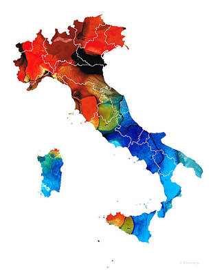 Italy - Italian Map By Sharon Cummings Art Print by Sharon Cummings