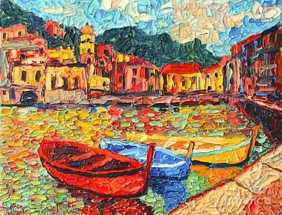 Manarola Painting - Italy Liguria Riviera - Cinque Terre - Colorful Boats In Vernazza by Ana Maria Edulescu