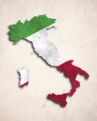 Italy Map Art With Flag Design Art Print by World Art Prints And Designs