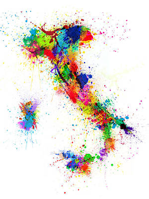 Abstract Digital Art - Italy Map Paint Splashes by Michael Tompsett