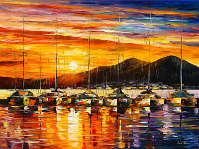 Yacht Club Painting - Italy Naples Harbor by Leonid Afremov