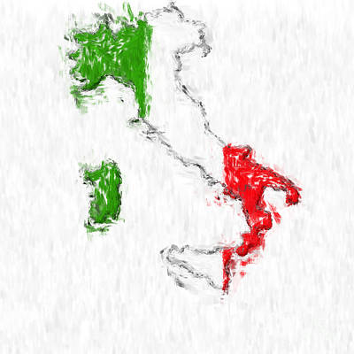 Impressionism Photos - Italy Painted Flag Map by Antony McAulay