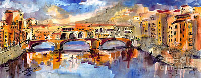 Old World Painting - Italy Ponte Vecchio Florence by Ginette Callaway