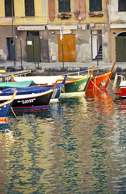 Italy Portofino Colorful Boats Of Portofino Art Print by Anonymous