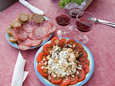 Table Wine Photograph - Italy, Positano Antipasti And Wine by Jaynes Gallery