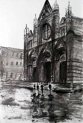 Rainy Day Drawing - Italy Series 12 by Uma Krishnamoorthy