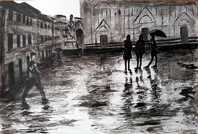 Rainy Day Drawing - Italy Series 14 by Uma Krishnamoorthy