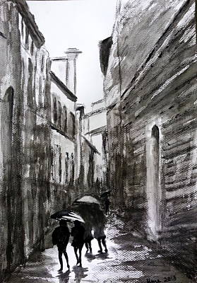 Rainy Day Drawing - Italy Series 2 by Uma Krishnamoorthy