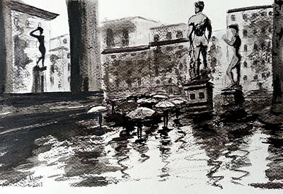 Rainy Day Drawing - Italy Series 8 by Uma Krishnamoorthy