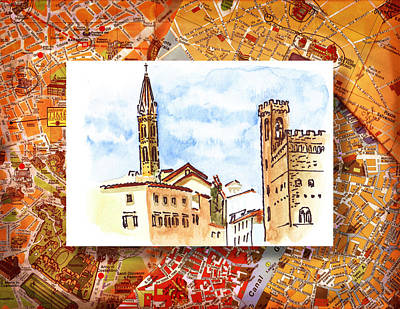 Old Map Painting - Italy Sketches Florence Towers by Irina Sztukowski