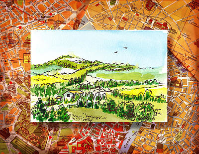 Maps Painting - Italy Sketches From Florence To Rome by Irina Sztukowski
