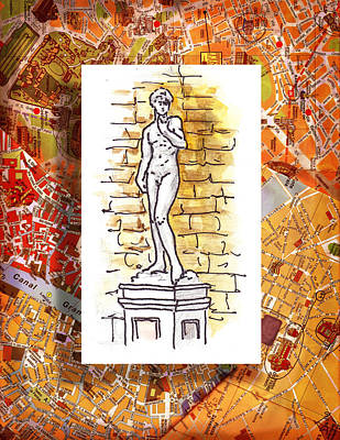 Old Map Painting - Italy Sketches Michelangelo David by Irina Sztukowski