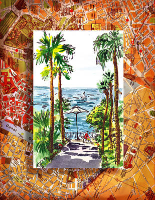 Maps Painting - Italy Sketches Palm Trees Of Sorrento by Irina Sztukowski