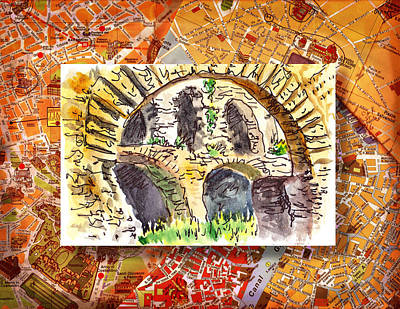 Old Map Painting - Italy Sketches Roman Ruins Of Forum by Irina Sztukowski