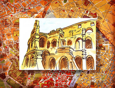 Old Books Painting - Italy Sketches Rome Colosseum Ruins by Irina Sztukowski