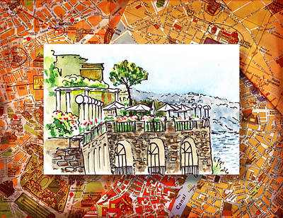 Old Map Painting - Italy Sketches Sorrento Cliff by Irina Sztukowski