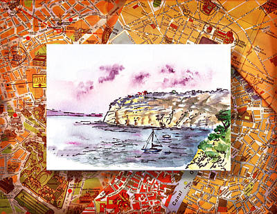 Old Map Painting - Italy Sketches Sorrento Rocky Shore by Irina Sztukowski