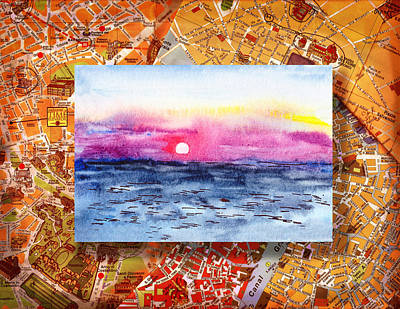 Painting - Italy Sketches Sorrento Sunset by Irina Sztukowski