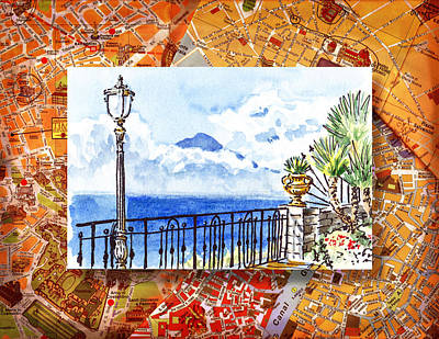 Italy Sketches Sorrento View On Volcano Vesuvius  Art Print
