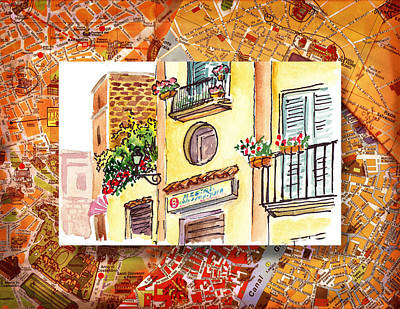 Old Map Painting - Italy Sketches Streets Of Sorrento  by Irina Sztukowski
