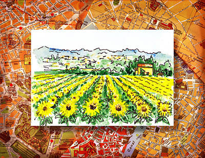 Old Books Painting - Italy Sketches Sunflowers Of Tuscany by Irina Sztukowski