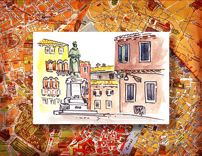 Old Map Painting - Italy Sketches Venice Piazza by Irina Sztukowski