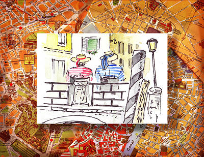 Old Map Painting - Italy Sketches Venice Two Gondoliers by Irina Sztukowski