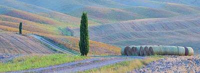 Bale Photograph - Italy, Tuscany Hay Bales And Farmland by Jaynes Gallery