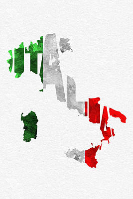 Abstract Map Mixed Media - Italy Typographic Map Flag by Ayse Deniz