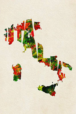Painting - Italy Typographic Watercolor Map by Inspirowl Design
