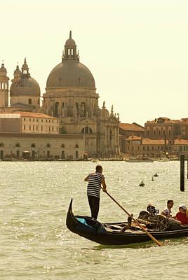 Italy, Venice A Gondolier Ferries Art Print