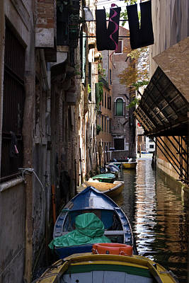 Clotheslines Photograph - Italy, Venice Boats In Canal Credit by Jaynes Gallery
