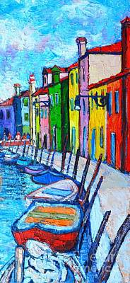 Adriatic Sea Painting - Italy - Venice - Colorful Burano - The Right Side  by Ana Maria Edulescu
