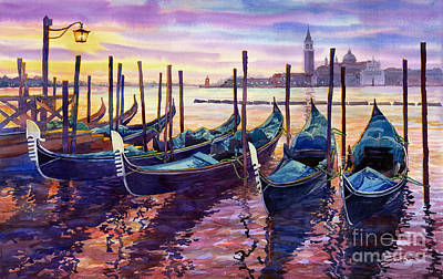 Boat Wall Art - Painting - Italy Venice Early Mornings by Yuriy Shevchuk