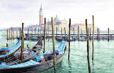 Morning Light Painting - Italy Venice Gondolas Parked by Yuriy Shevchuk