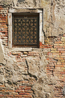 Italy, Venice Ornate Metalwork Window Art Print