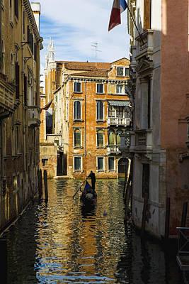 Italy, Venice, Rowing Gondola Art Print by Richard Desmarais