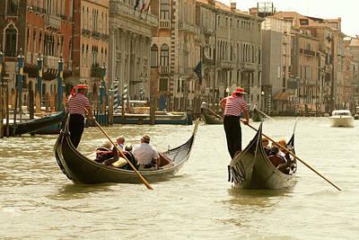 Italy, Venice Tourist Ride In Gondolas Art Print