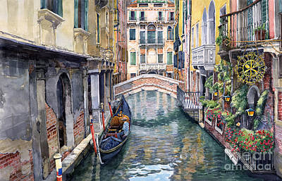 Canal Painting - Italy Venice Trattoria Sempione by Yuriy Shevchuk