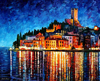 Italy-verona - Palette Knife Oil Painting On Canvas By Leonid Afremov Original by Leonid Afremov