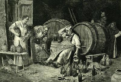 Wine Cellar Drawing - Italy Wine Tasting 1881 by Italian School
