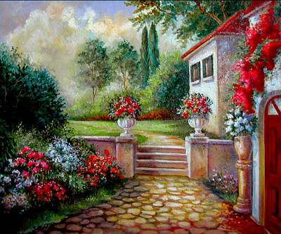 Italyan Villa With Garden  Original by Regina Femrite